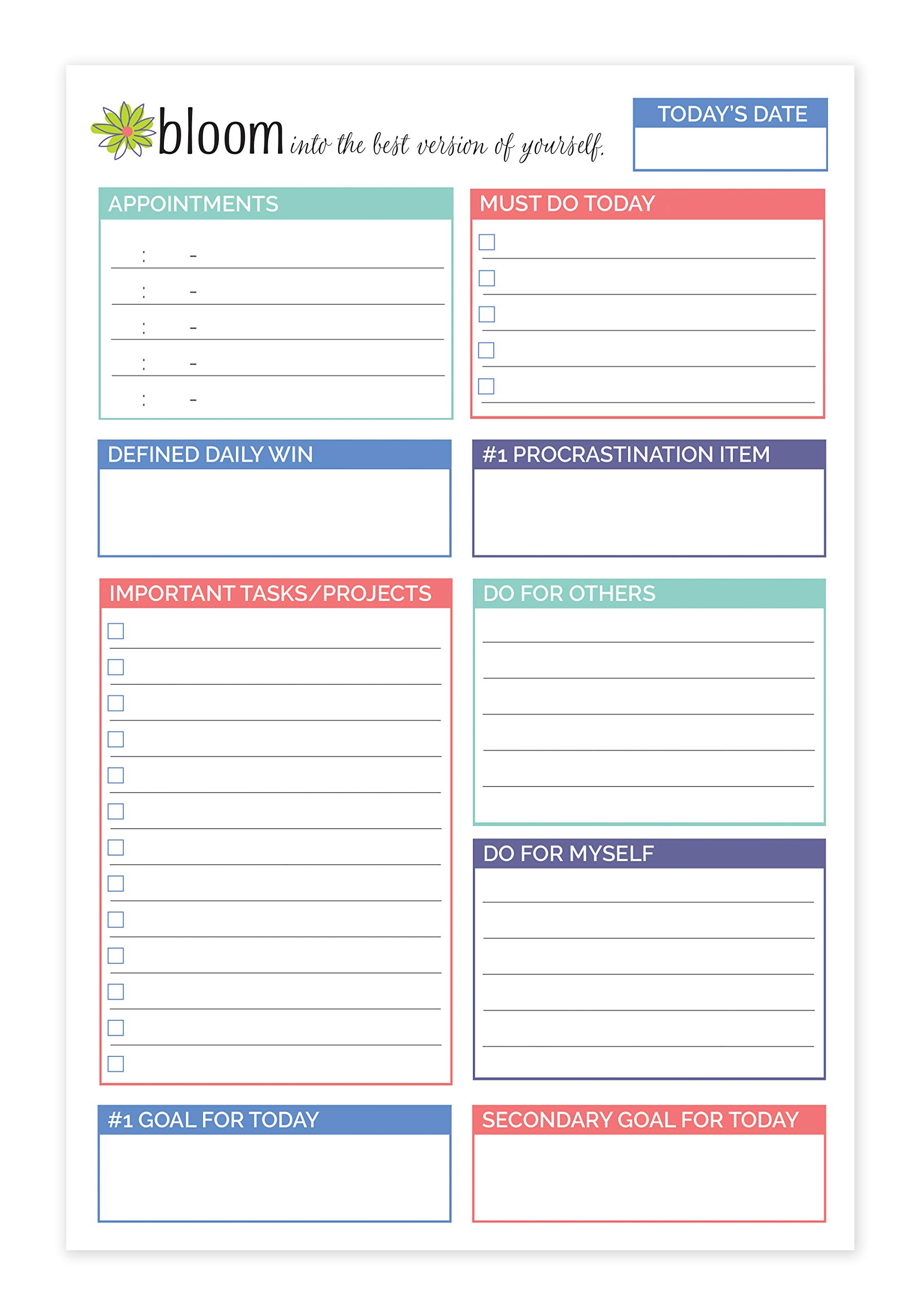 bloom daily planners Double Sided Daily Planning System Tear Off to Do Pad - Teal - 6'' x 9''