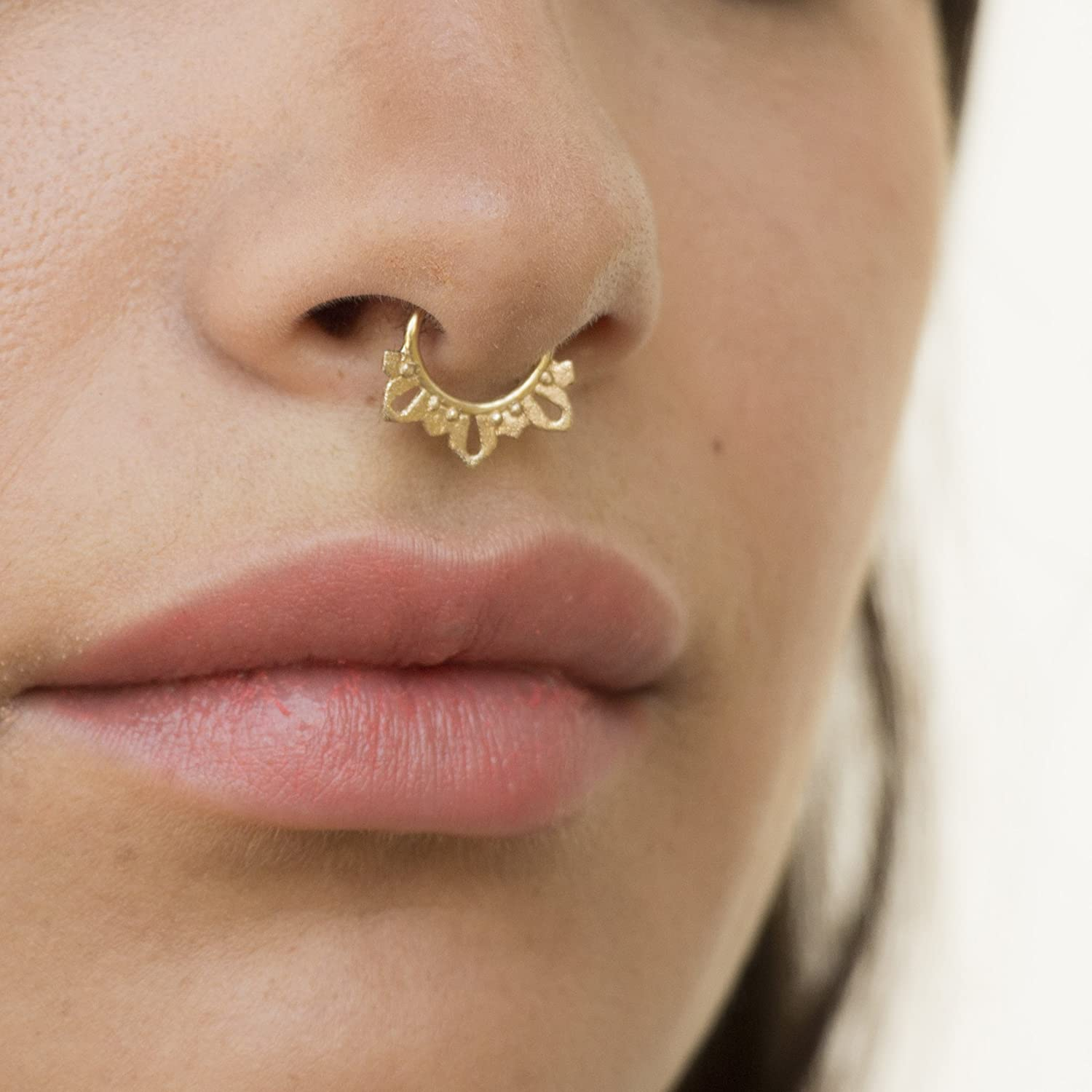 Amazon Com Gold Plated Septum Ring Unique Indian Tribal Style Nose Piercing Jewelry Spikes Fits Tragus Cartilage Helix Rook Daith Hoop Earring 16g Handmade Handmade