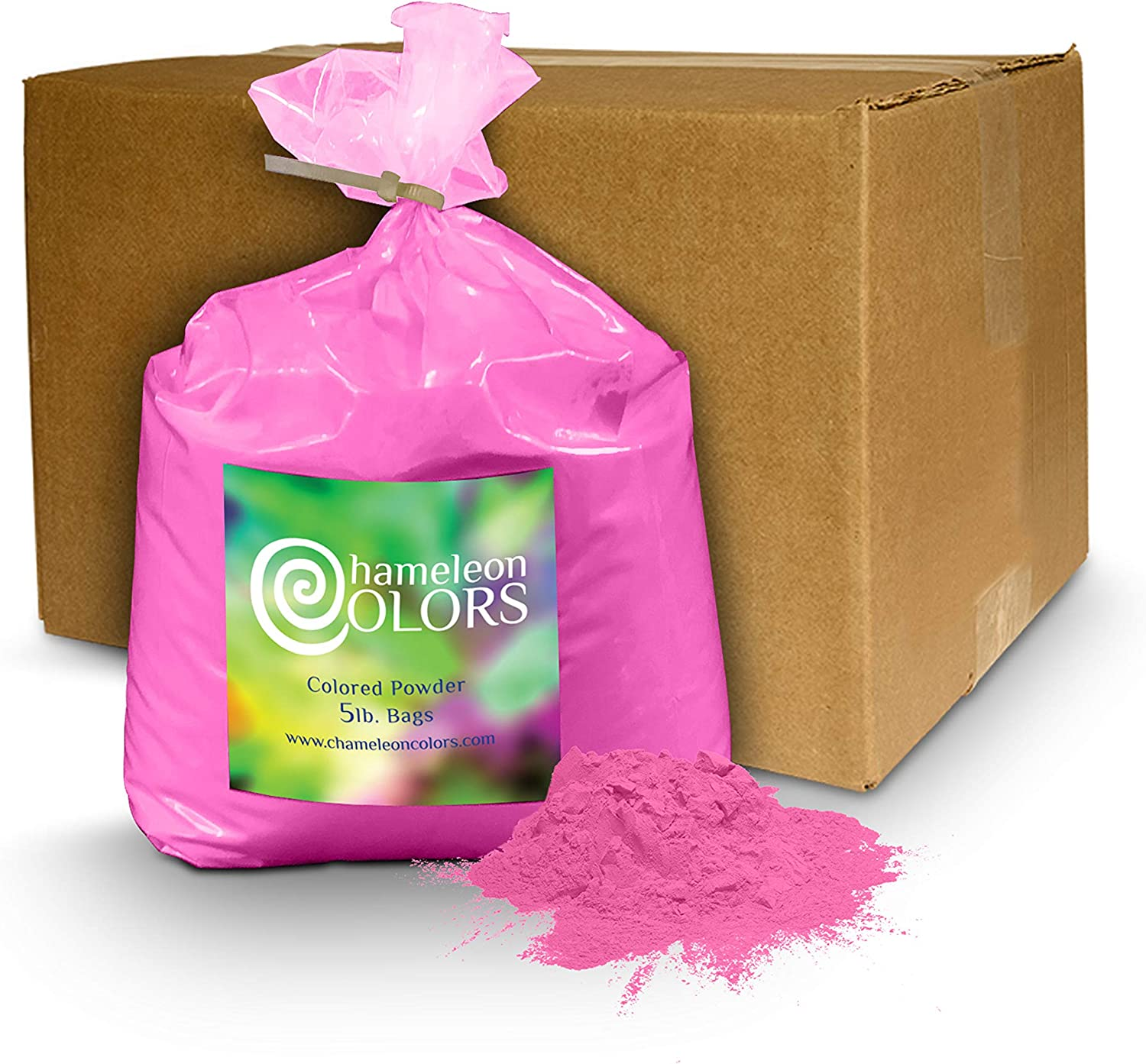 Holi Powder Gender Reveal by Chameleon Colors – 5lb Pink. Same premium, authentic product used for a color races, 5k, etc.