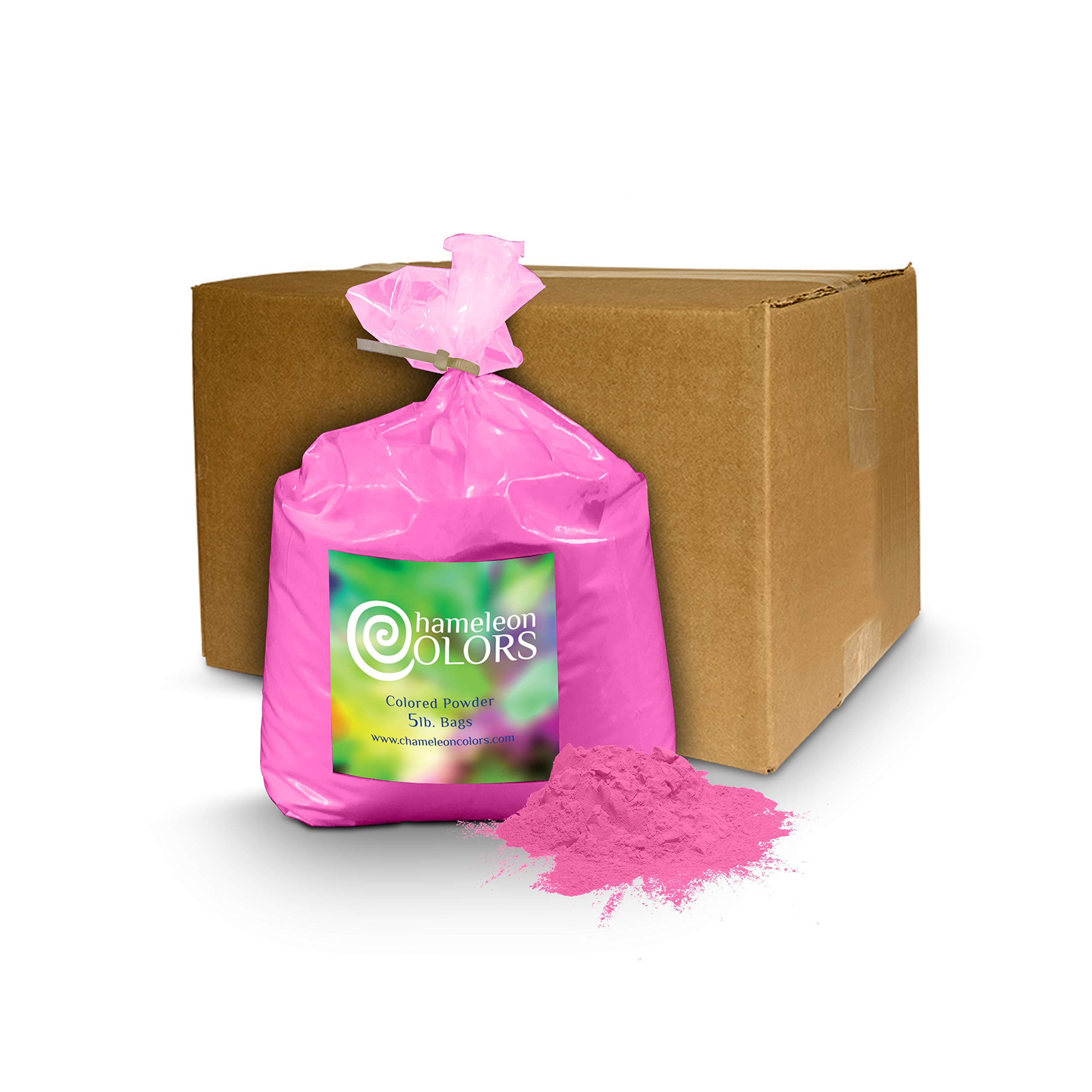 Holi Powder Gender Reveal by Chameleon Colors - 5lb Pink. Same premium, authentic product used for a color races, 5k, etc.