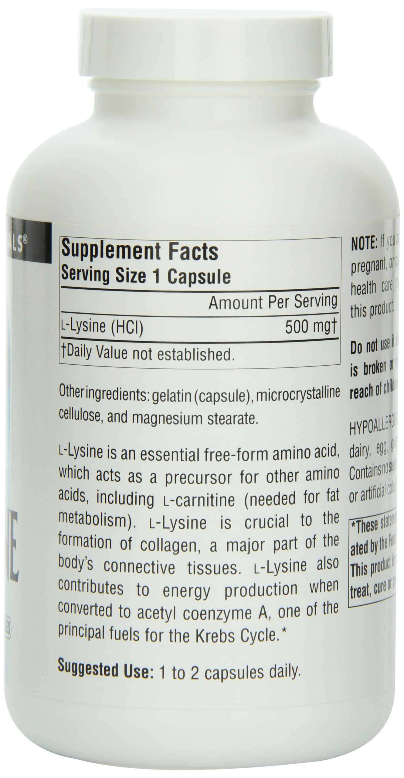 Source Naturals L-Lysine 500mg Free Form Essential Amino Acid Supports Calcium Absorption Supplement - 200 Capsules