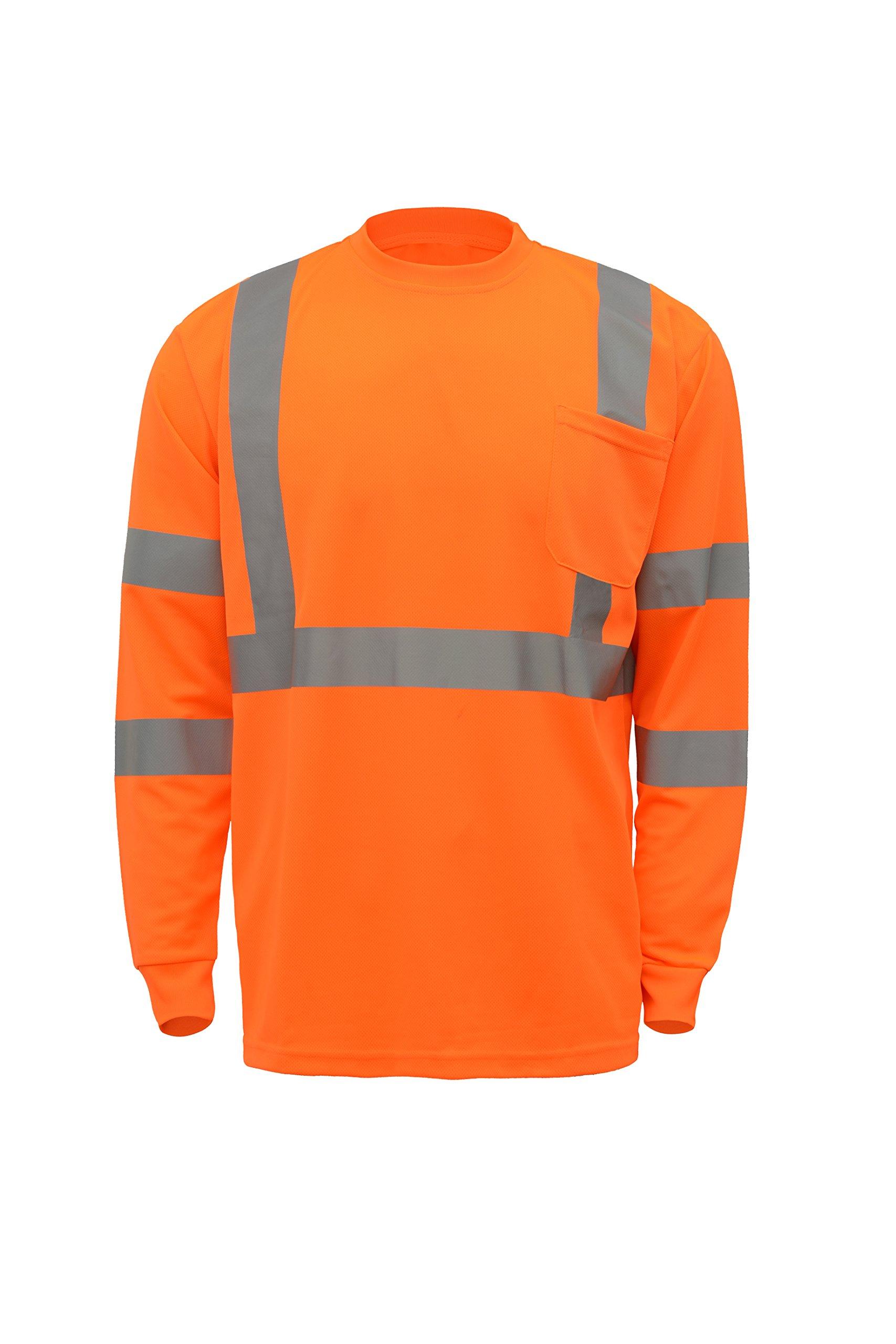 CJ Safety CJHVTS3002 ANSI Class 3 High Visibility Long Sleeve Safety Shirt | 2'' Reflective tapes | Moisture Wicking Mesh (Medium, Orange)