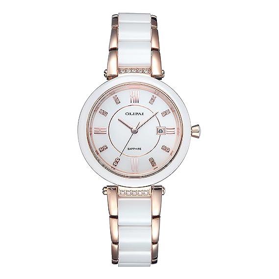 olipai vestido para mujer Rhinestone reloj de pulsera cuarzo de Suiza con cerámica banda + un