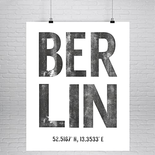 Amazon Com Berlin Latitude Longitude Fine Art Print Large
