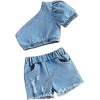 2 Piezas de Jeans para bebés con Hombros Descubiertos y Pantalones Cortos de Mezclilla para bebés de Tiro bajo con…