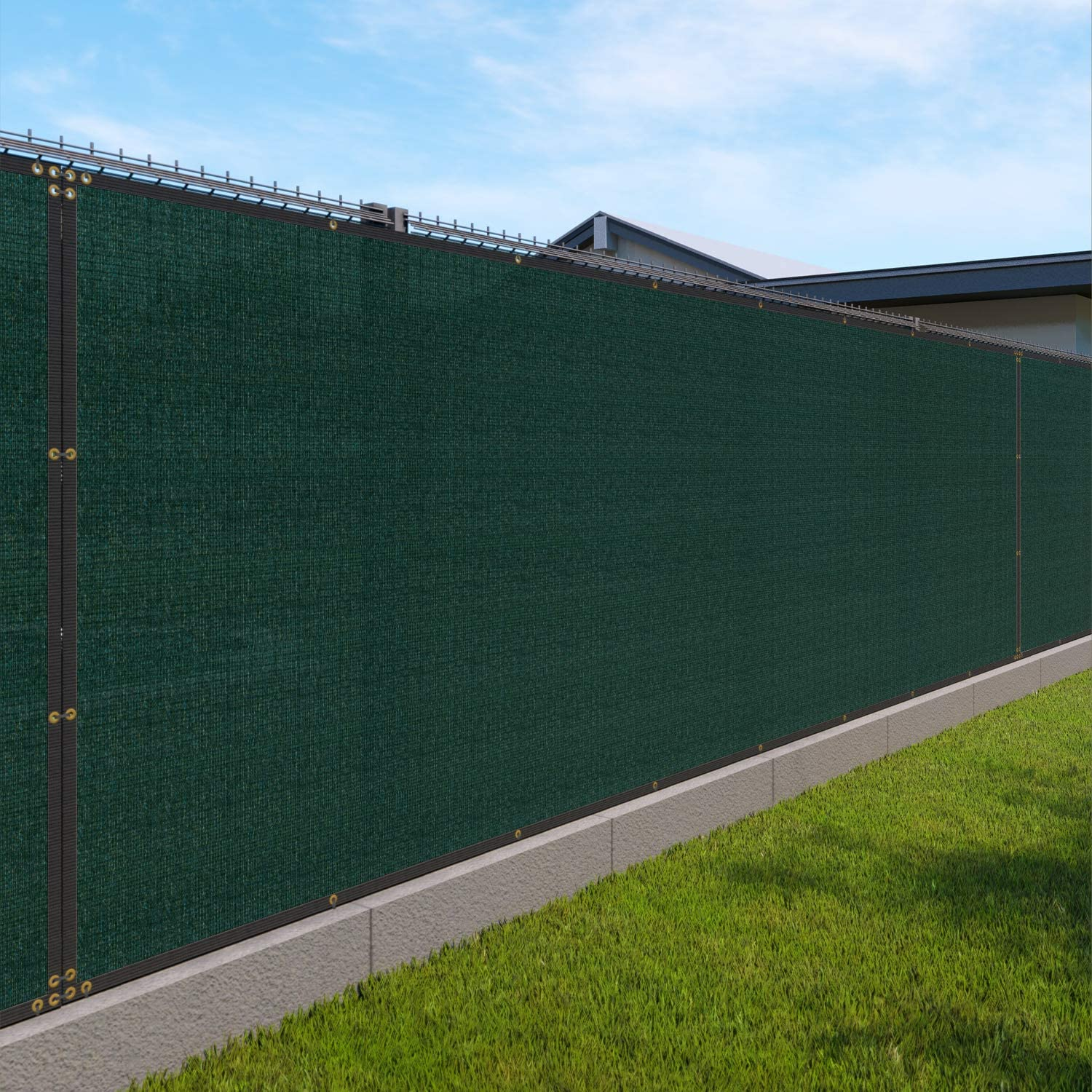 4 X 25 Privacy Fence Screen In Green With Brass Grommet 85 Blockage Windscreen Outdoor Mesh Fencing Cover Netting 150gsm Fabric Custom Outdoor Decorative Fences Garden Outdoor