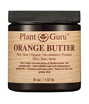 Orange Body Butter 8 Oz. 100 Percents Pure Raw Fresh Natural Cold Pressed. Skin Body And Hair Moisturizer, Diy Creams, Balms, Lotions, Soaps. by Plant Guru