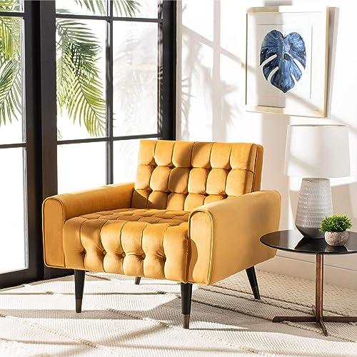Safavieh Home Amaris Retro Glam Marigold Velvet and Black Tufted Accent Chair