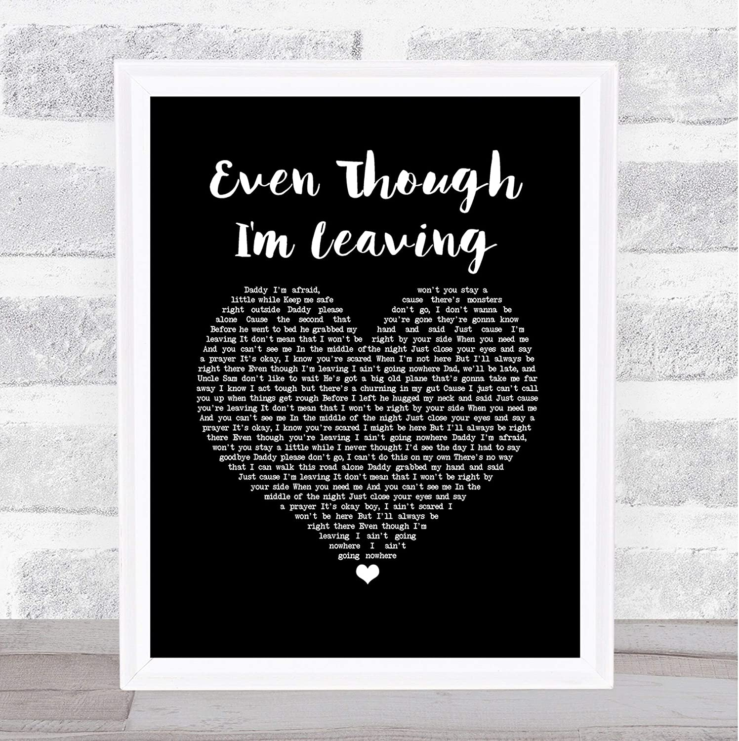 #Luke #Combs #Even Though I'm Leaving Black Heart Song Lyric Print Poster Wall Art Home Decor Gifts for Lovers Painting