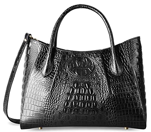 abd415fdbe8 PIFUREN Designer Crocodile Top Handle Handbags Womens Genuine Leather Tote  Bags (C69678 Black)