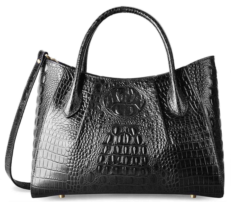 PIFUREN Women Top Handle Satchel Handbags Crocodile Leather Tote Bag C69678( Black) by PIFUREN