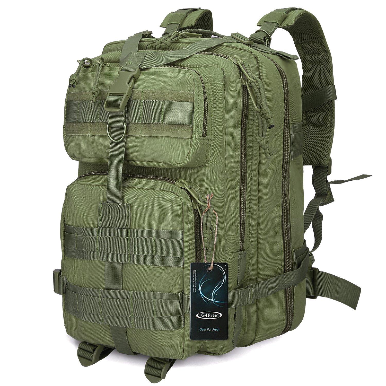 G4Free Sport Outdoor Military Rucksacks Tactical Molle Backpack Camping Hiking Trekking Bag Custom Design 40L(Army Green)