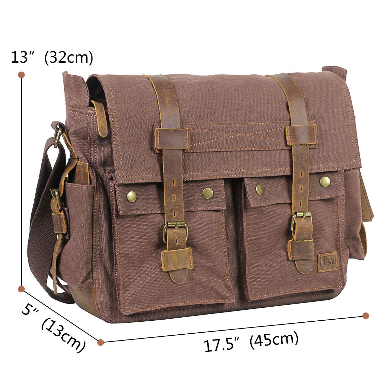 5361b7f36a83 Amazon.com  Lifewit 17.3 inch Mens Messenger Bag Vintage Canvas Leather  Laptop Satchel Military Computer Shoulder Bags  Computers   Accessories