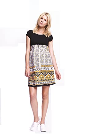 Maternal America Womens Maternity Front Tie Dress, Black/Mustard Paisley, Medium