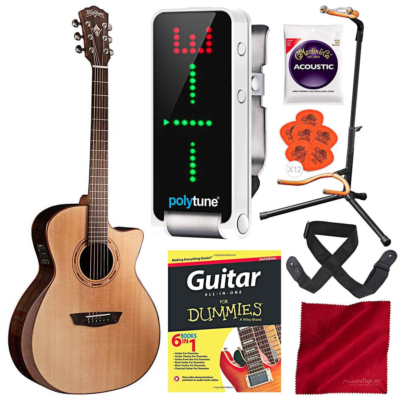 Washburn WCG20SCE Comfort Series - Guitarra acústica eléctrica con ...