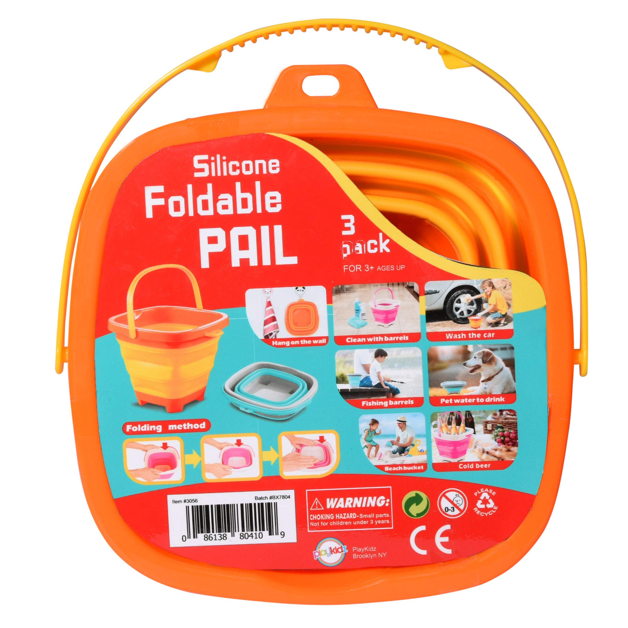 Playkidz Collapsible Bucket Set [3] Compact 2-Liter Silicone Folding Pails with Handle Great for Camping, Backpacking, Cleaning, Car Wash, Fishing, Party Drinks, Kids Beach Play & More Ages 3+