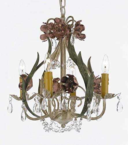 Floral Wrought Iron and Crystal 4 Light Chandelier Pendant Lighting
