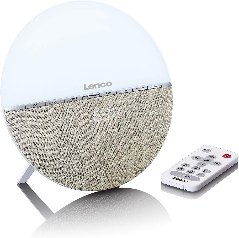 Lenco Crw 4 Uhrenradio Wellness Wake Up Light Lichtwecker Mit Bluetooth Pll Fm Empfänger Zwei Weckzeiten 2 X 3 Watt Rms Überblendanimation Mit 7 Farben Creme Heimkino Tv Video