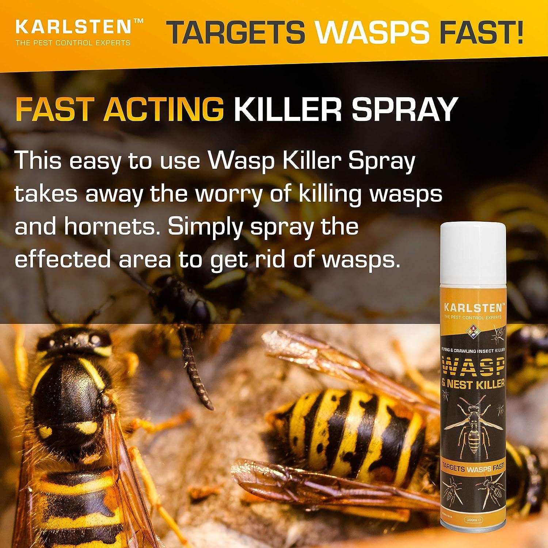Karlsten Wasp & Nest Killer Aerosol 300 ML Targets Wasps & Hornets Fast Action On Nests Advanced 2018 Formulation Targets & Kills Wasps Fast lodi 7000