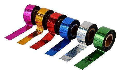 Spick Global Ruban adhésif décoratif adhésif holographique coloré en polyester (multicolore, 3 / 4inchx100ft) - Lot de 6: Amazon.fr: Jardin