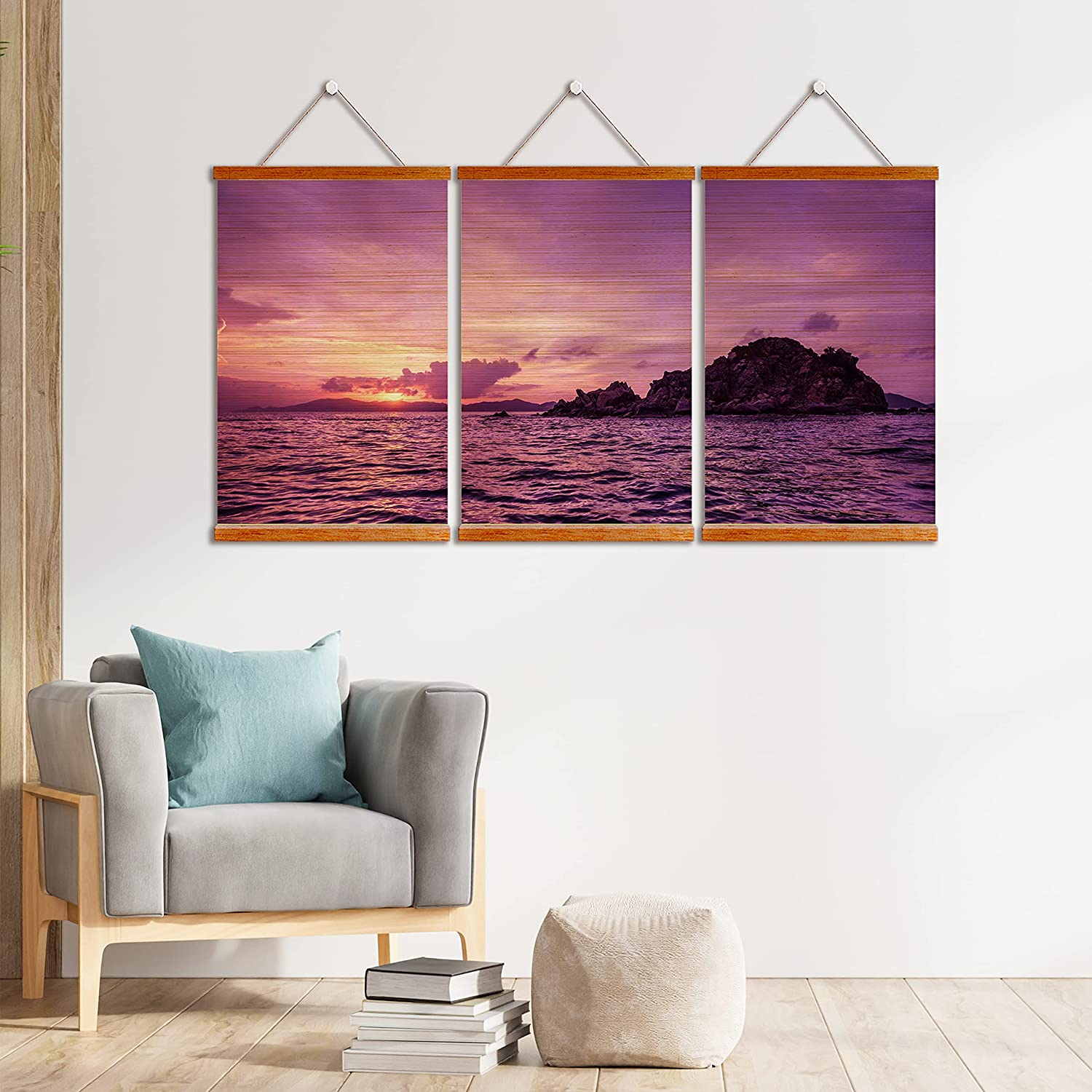 Pelican Island Sunset 3 Panel Wall Art Bamboo Scroll for Decor | Bamboo Blinds Printing, Wooden Framed | Natural Eco-frendly Artwork Home Decoration