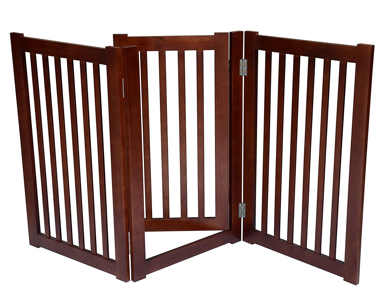 MDOG2 3-Panel Free Standing Pet Gate, 60-Inch Width by 32-Inch Height, Dark Walnut