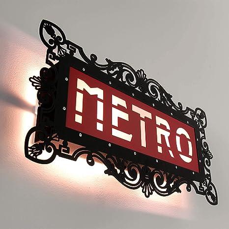 Negro rojos lámpara de pared PARIS Metro Cartel 46 cm x 25 ...