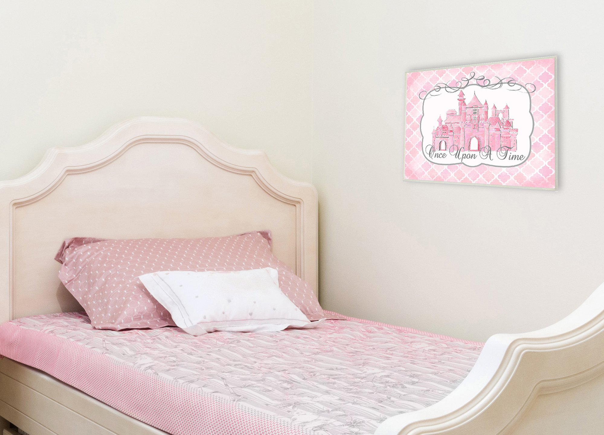 The Kids Room by Stupell Stupell Home Décor Once Upon a Time Pink Water Color Castle Wall Plaque Art, 10 x 0.5 x 15, Proudly Made in USA by The Kids Room by Stupell (Image #2)