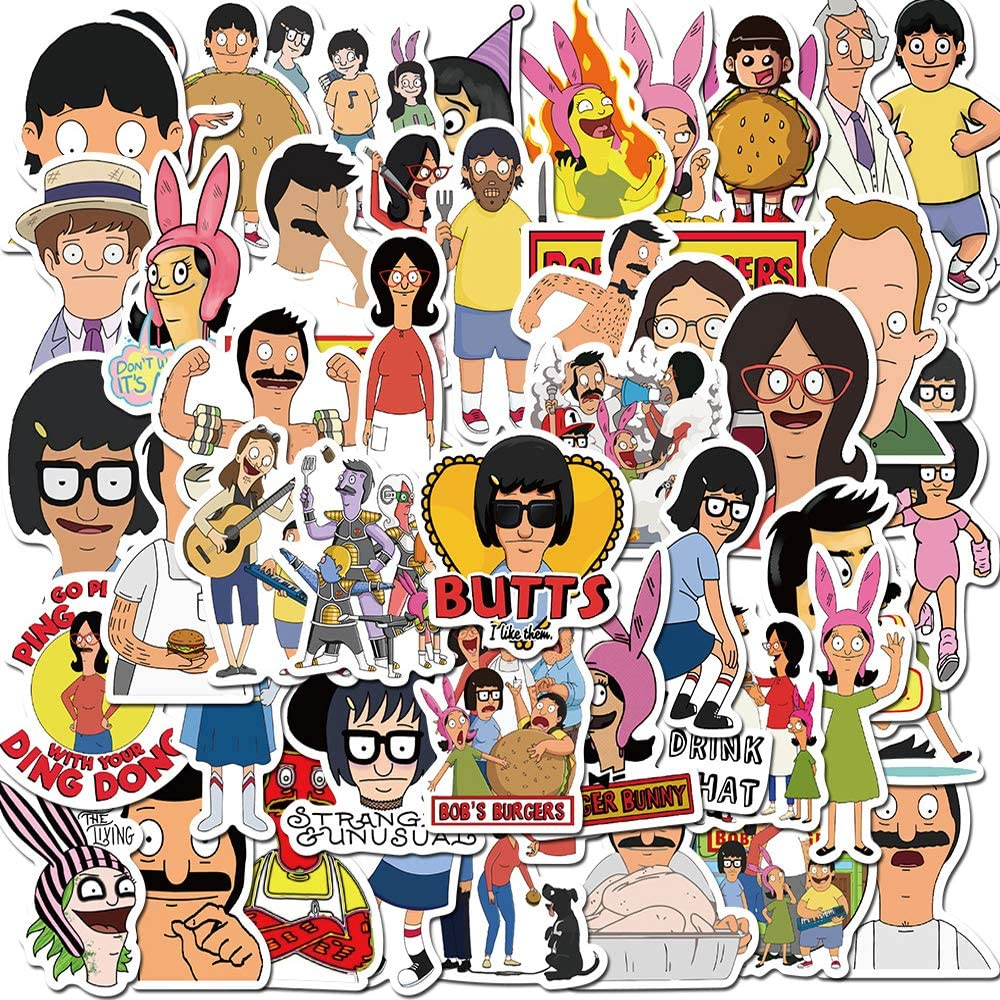 Bob's Burgers Stickers,Funny Cartoon TV Show Stickers Water Bottle Notebook Phone Laptop Decal(50PCS)