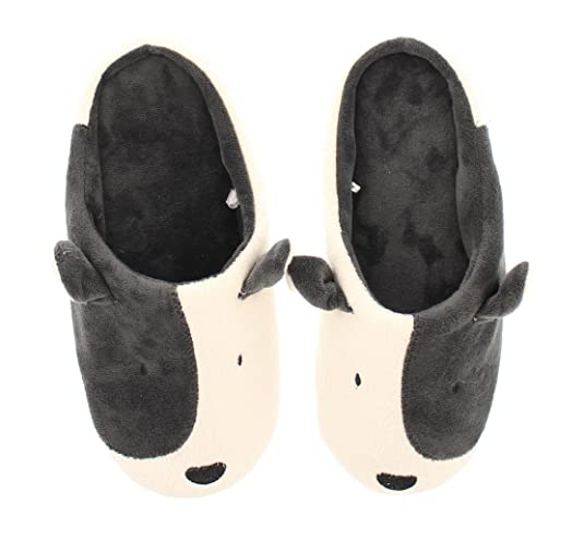 Gold Toe Women's Bull Terrier Dog Novelty Furry Animal Soft Plush House Slipper Grey/White S 6-7 US