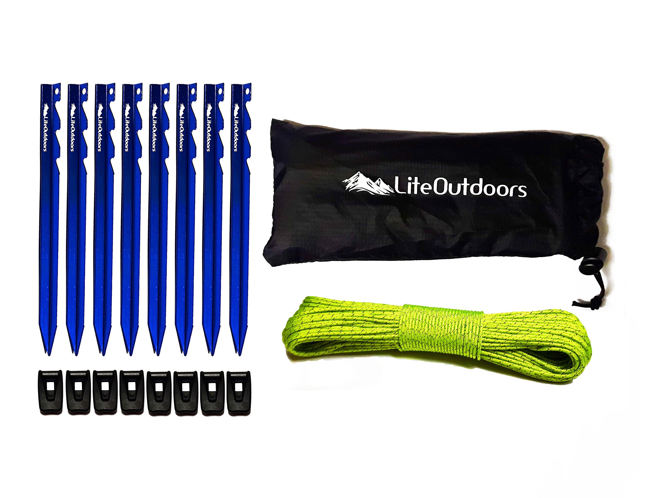 LiteOutdoors Ultralight Tent Stake Kit - 8 Aluminum Tent Pegs, 60' Reflective Guy Line, 8 Cord Tensioners - For Backpacking, Hiking, Camping by LiteOutdoors