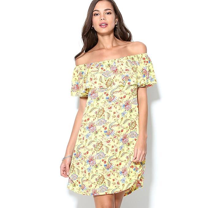Vestido evasé Estampado Flores Gran Escote Redondo con Elástico y Volante by Vencastyle,Amarillo Estampado
