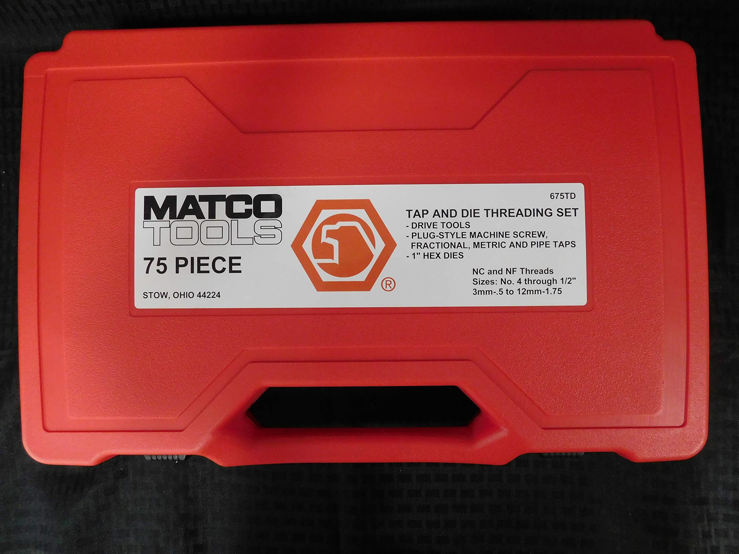 Matco Tools 75 Piece Tap & Die Threading Set, Part #675TD