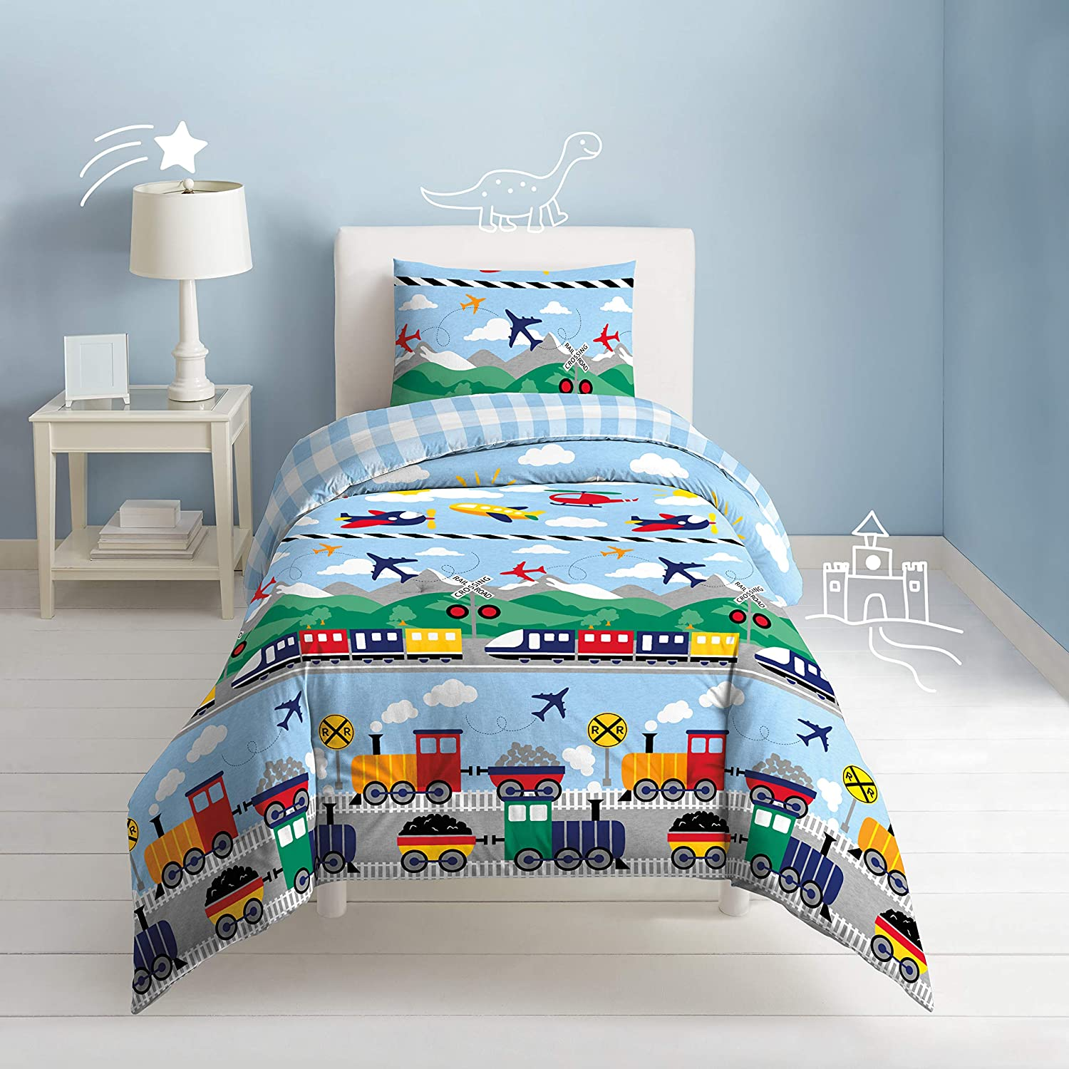 dream FACTORY Kids 3-Piece Easy-Wash Super Soft Cotton Comforter and Pillow Sham Set, Full/Queen, Blue Trains and Planes