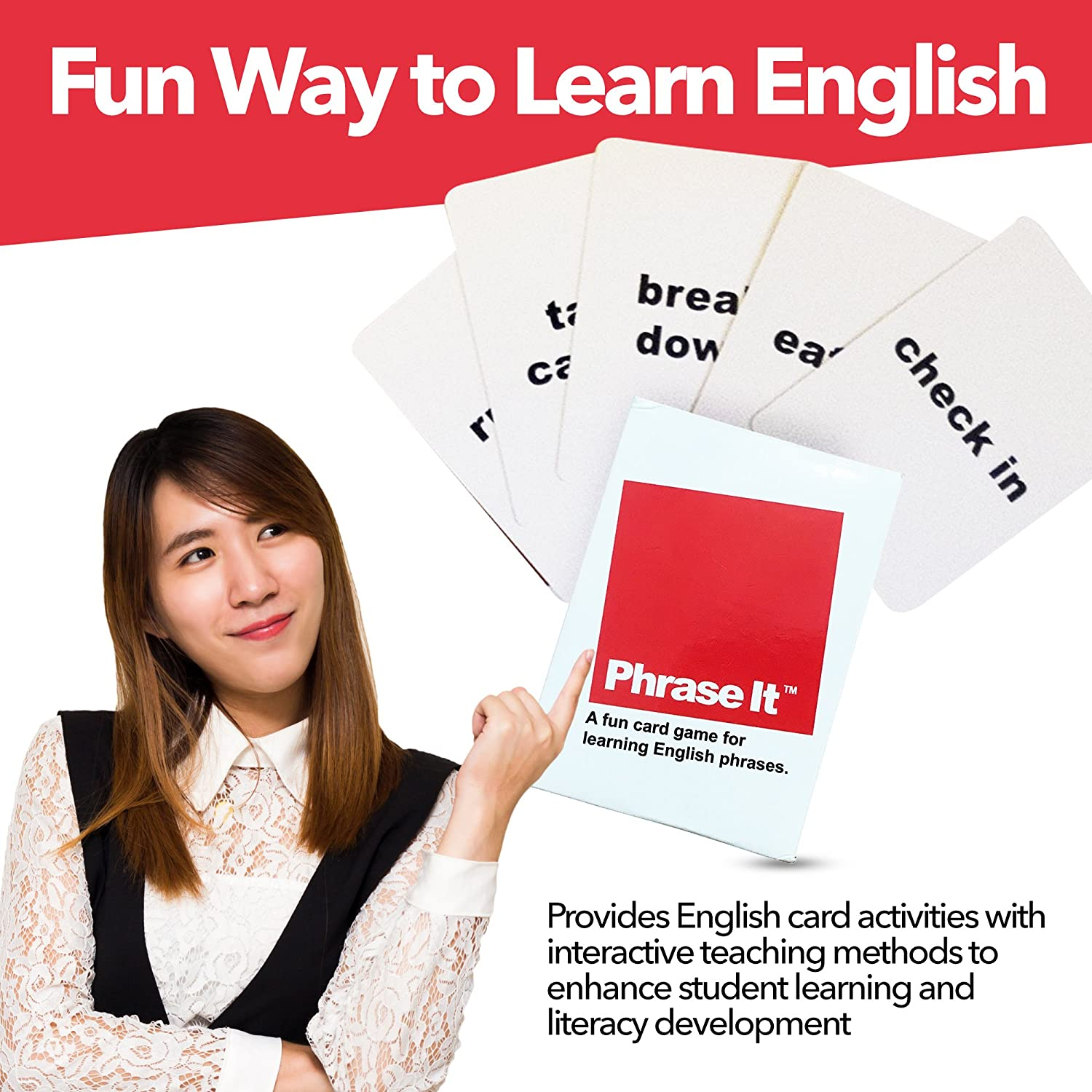 Phrase It English Learning Card Game and ESL Book for Teaching and Classroom Activities Includes Teacher Instructions and a Phrasal Verb Dictionary