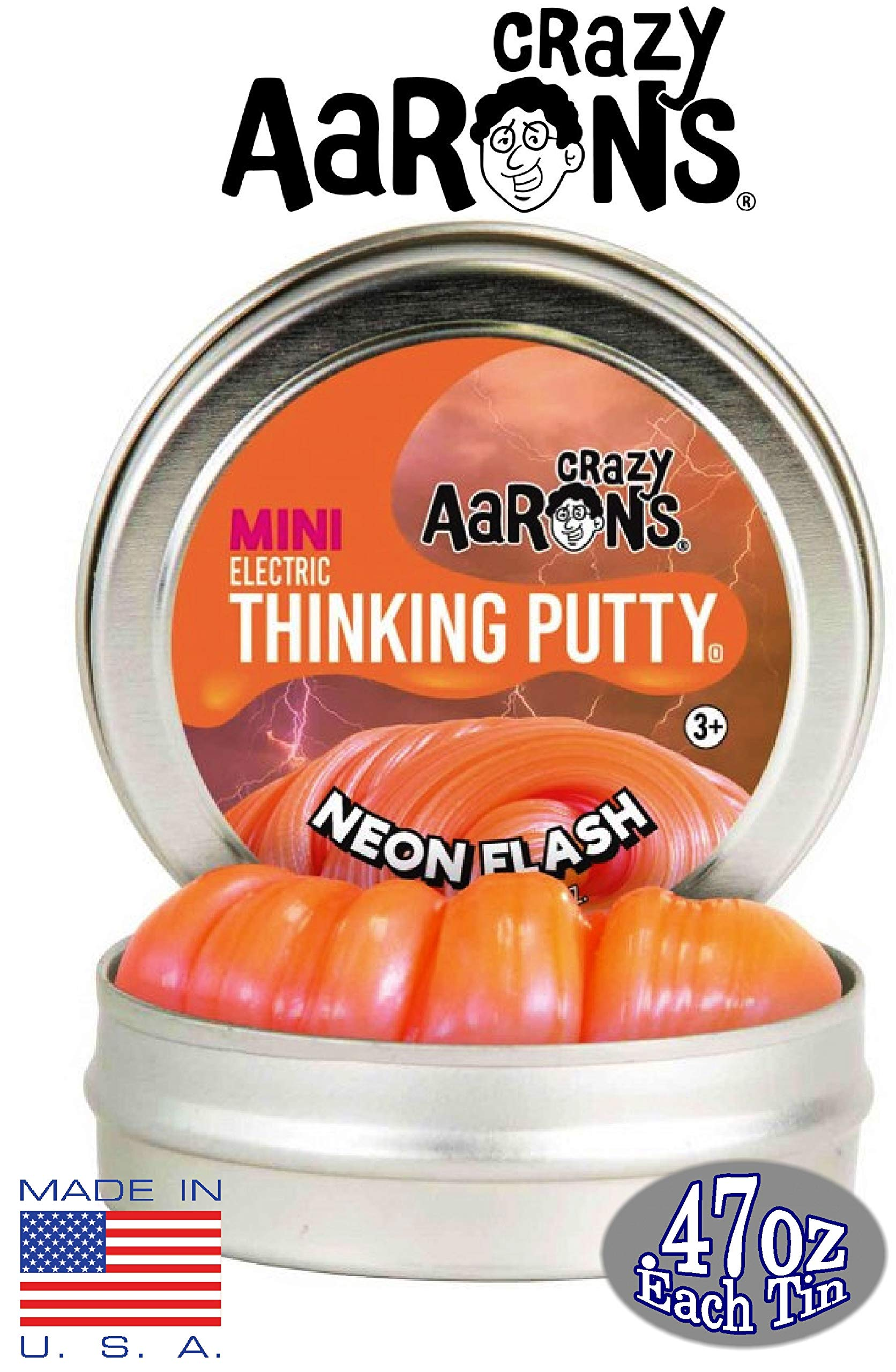 Crazy Aaron's Thinking Putty Mini Tin Gift Set Bundle (Sample Set 3) with Super Fly, Neon Flash, Super Lava, Amber, Love Air & Exclusive Scorpion Skin Glow in The Dark - 6 Pack by Crazy Aaron's (Image #2)