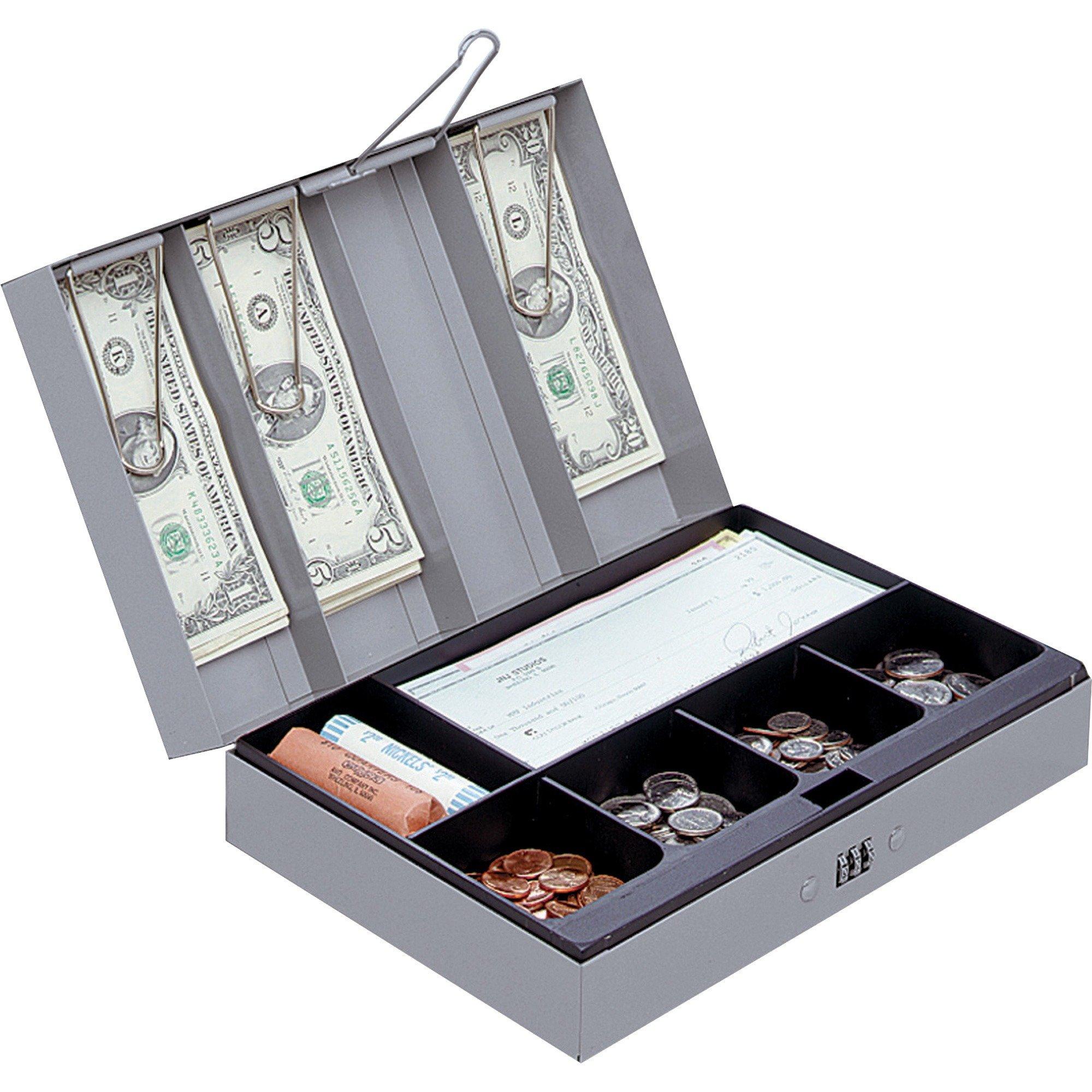 Sparco Combination Lock Cash Box, Steel, 11-1/2 x 7-3/4 x 3-1/4 Inches, Gray (SPR15508)