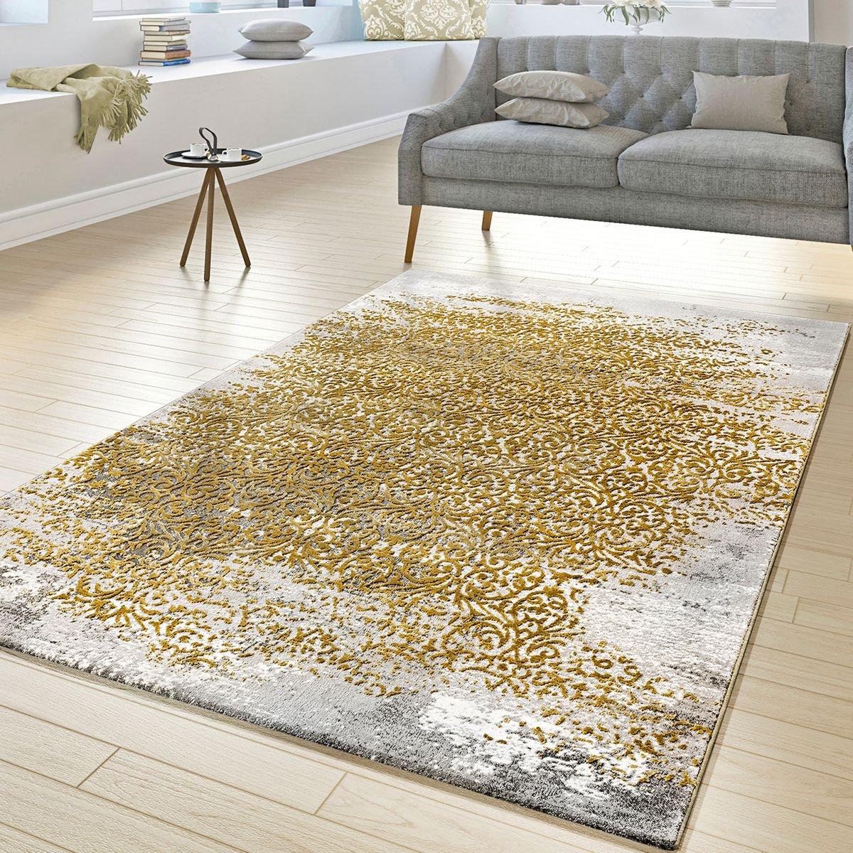 T&T Design Designer Teppich Wohnzimmer Kurzflor Teppich Florale Ornamente Grau Gold Gelb, Größe 200x290 cm