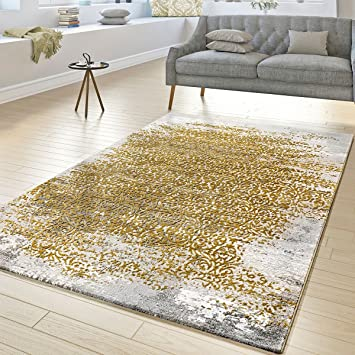 T T Design Tapis Createur Salon Poils Ras Decorations Florales Gris