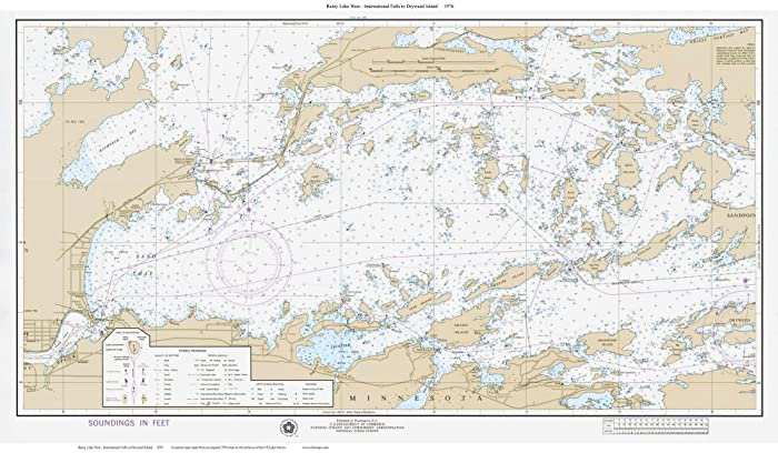 Amazon.com: Rainy Lake West 1976 Tan Old Map Nautical ...