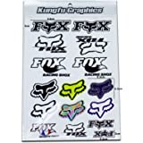 Kungfu Graphics Fox Head Micro Sponsor Logo Racing Sticker Sheet Universal (7.2x 10.2 inch), White