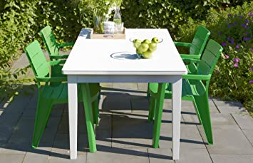 modern garden furniture stacking chair dining set green and white