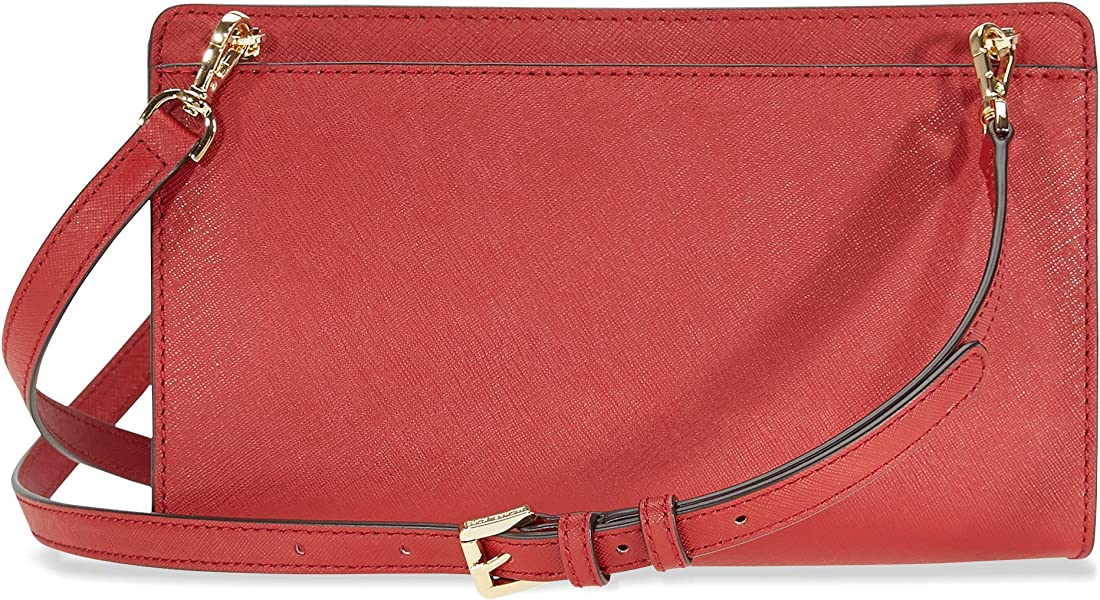 d75aea658480f Michael Kors Jet Set Large Crossbody Clutch - Burnt Red. Back. Double-tap  to zoom