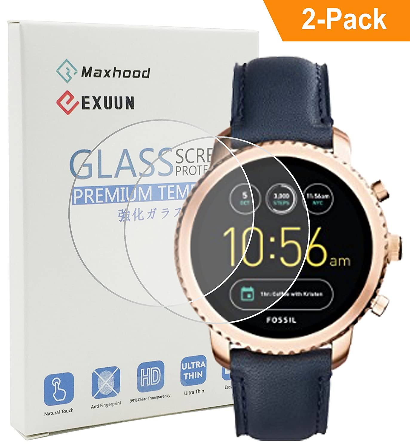 Exuun (2-Pack) Fossil Q Explorist Tempered Glass Screen Protector, 9H Tempered Glass 2.5D Round Edge Anti-Fingerprint Screen Protector for Fossil Q Explorist EXU-000120