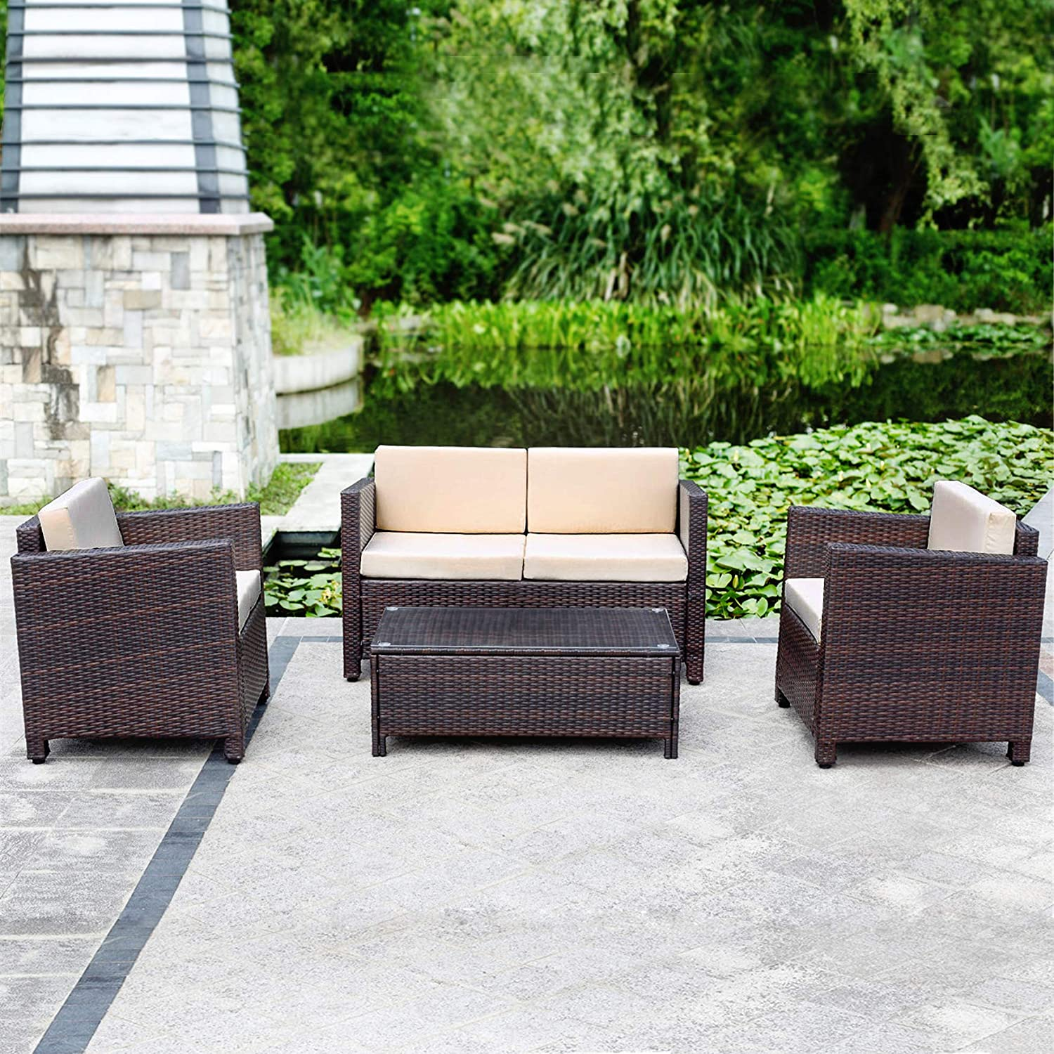 Amazon com wicker furniture direct outdoor patio furniture set 4 piece coversation set rattan chair loveseat with table brown wicker with beige cushion