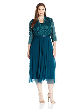 a732bd39885 R M Richards Women s Size 2 Piece Lace Hankie Collarless Jacket Dress Plus  at Amazon Women s Clothing store