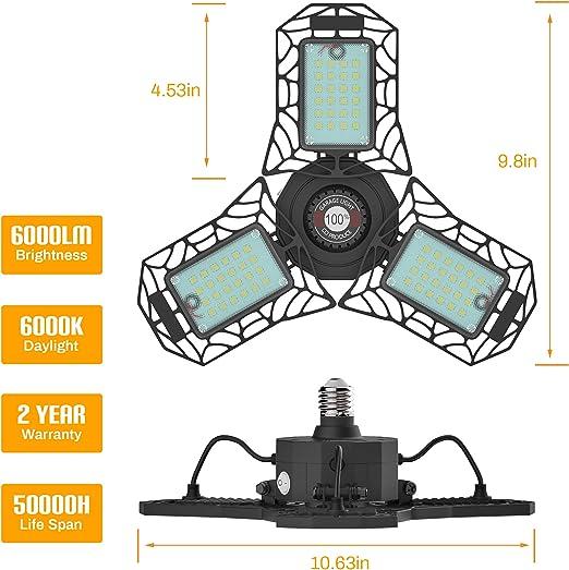 2 Pack LED Garage Lights Gray Deformable LED Garage Ceiling Lights 60W 6000LM Super Bright LED Shop Lights for Garage//Basement E26 Garage Light LED High Bay 6000K Daylight