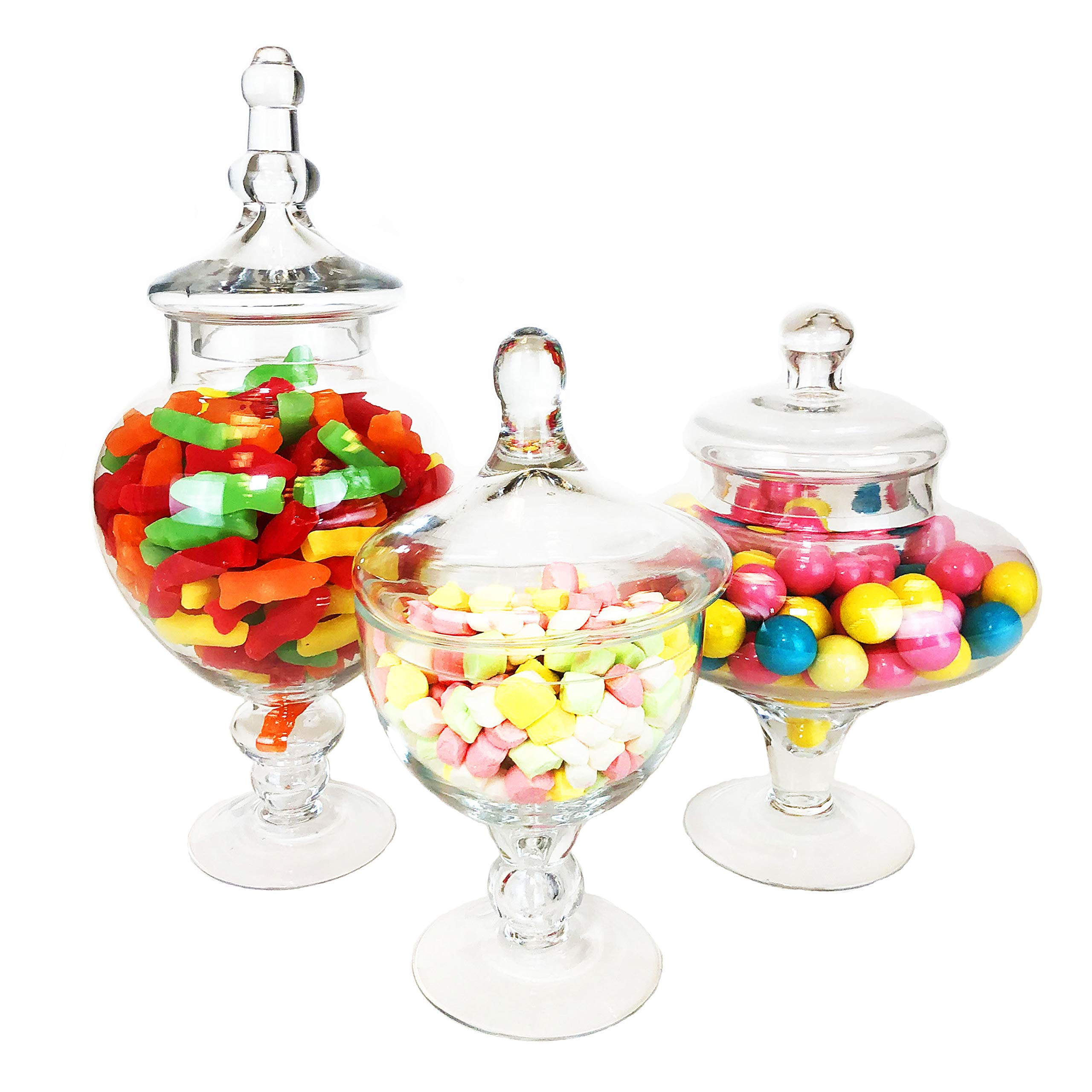 CYS EXCEL Apothecary Jars, Candy Buffet Display, Elegant Storage Jars, 3 Different Styles & Sizes, Pack of 1 Set of 3, Baby Shower Decorations, Height are 10'' 9.5'' and 14.5'' by CYS EXCEL