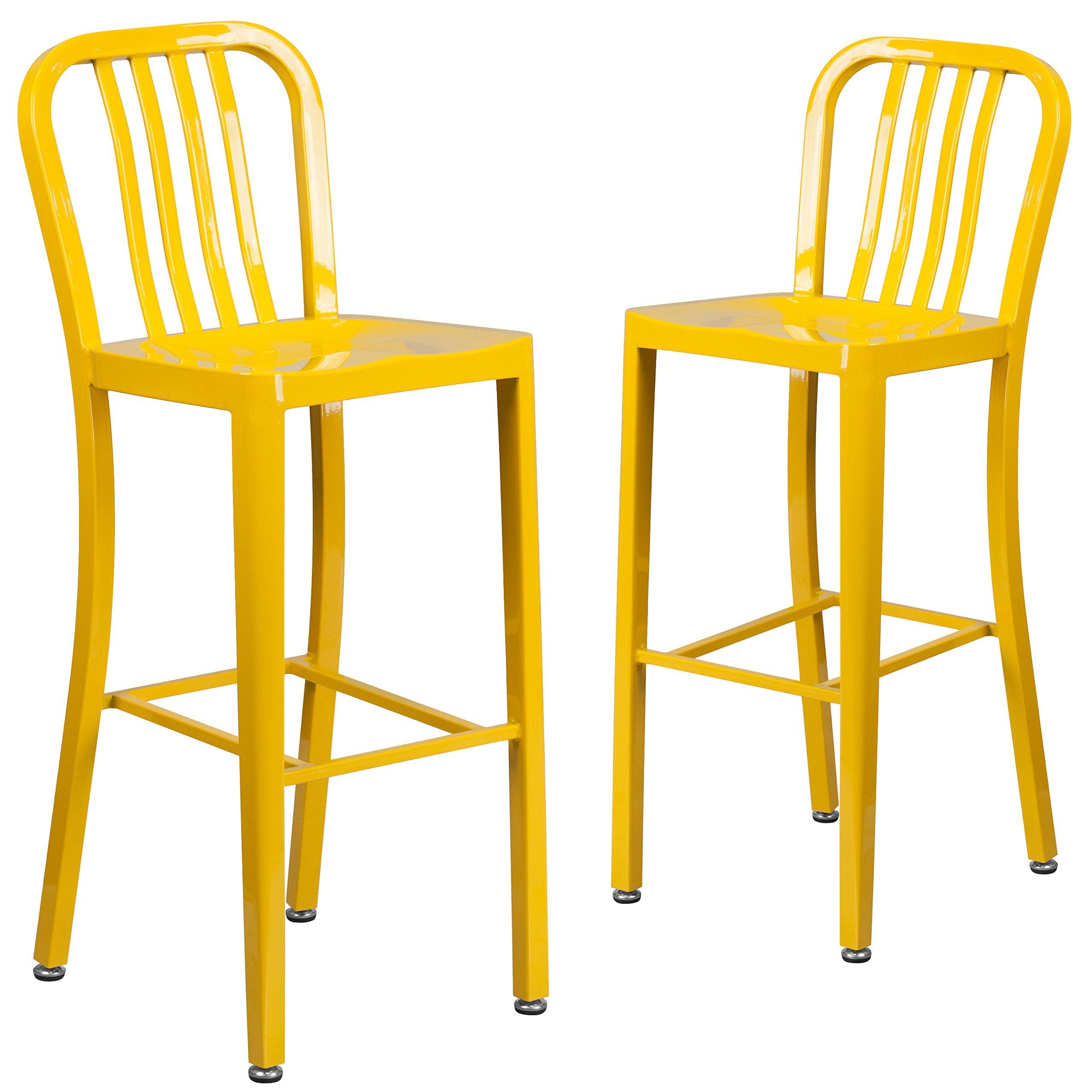 Flash Furniture 2 Pk. 30'' High Yellow Metal Indoor-Outdoor Barstool with Vertical Slat Back
