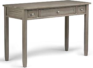 Simpli Home AXWSH010-GR Warm Shaker Solid Wood Rustic 48 inch Wide Writing Office Desk in Distressed Grey